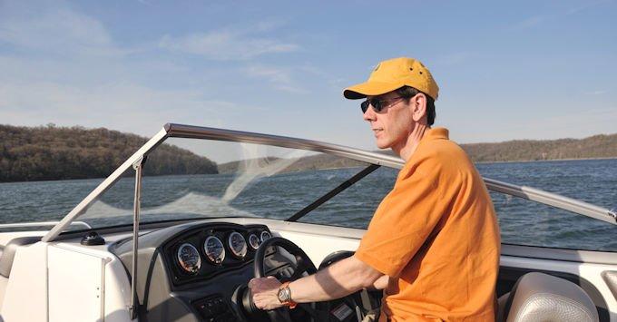 Man driving boat