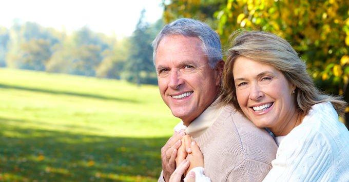 Man and woman hugging